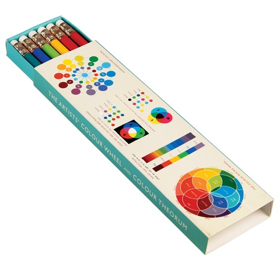 6 pencils in colour wheel box