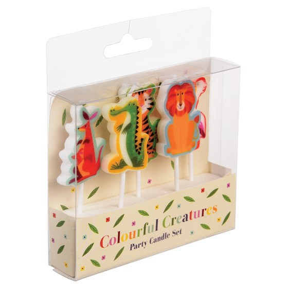 pack of 5 colourful creatures party candles