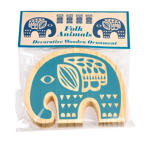 FOLK ANIMALS WOODEN ELEPHANT ORNAMENT