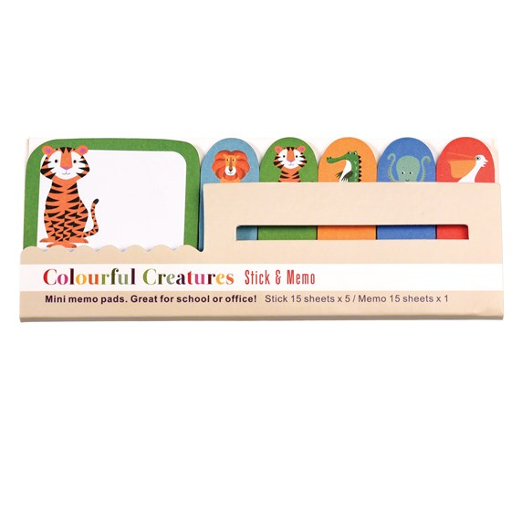 mini memo pads colourful creatures
