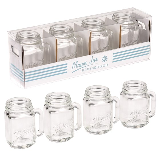 SET OF 4 MASON JAR SHOT GLASSES