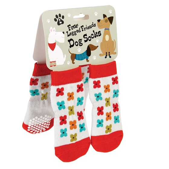 "chaussettes pour chiens ""mid century poppy"" grand"