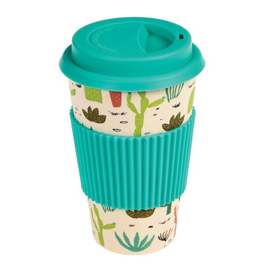 "coffee to go - becher aus bambus ""desert in bloom"""