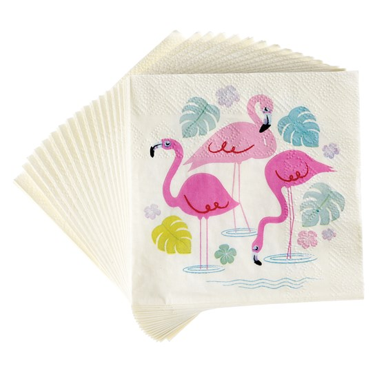 "20 serviettes en papier cocktail ""flamingo bay """