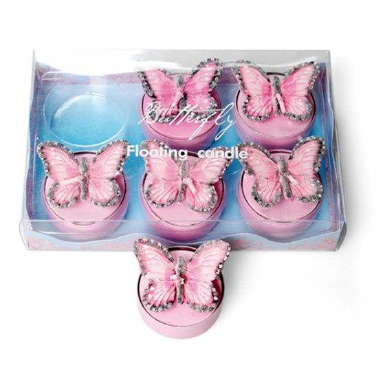 set of 6 pink butterfly t-light candles