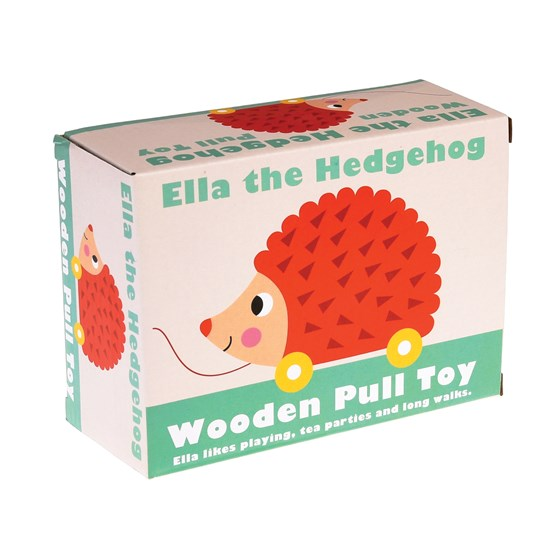 ella the hedgehog wooden pull toy