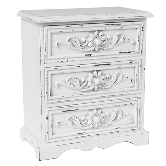 3 DRAWER ANTIQUE WHITE WOOD CABINET