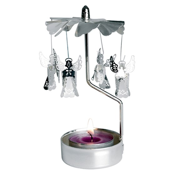ROTATING SILVER ANGELS TEALIGHT HOLDER