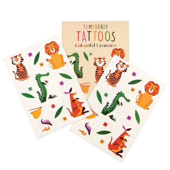 2 SHEETS OF COLOURFUL CREATURES TEMPORARY TATTOOS