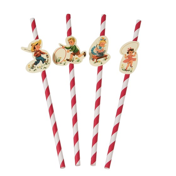 pack of 4 vintage kids paper party straws