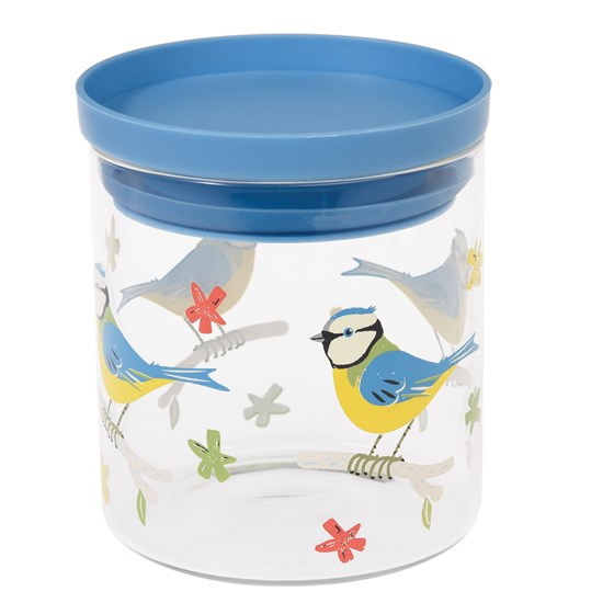 glass food jar blue tit