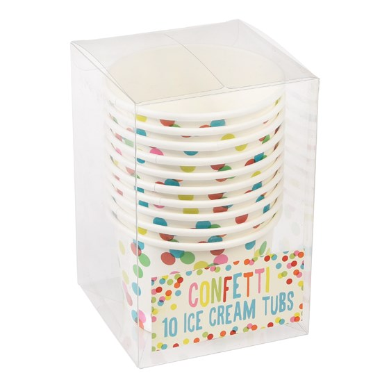 set 10 ice cream cups confetti