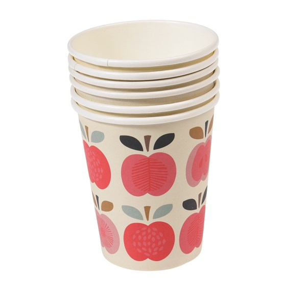 set 8 paper cups vintage apple