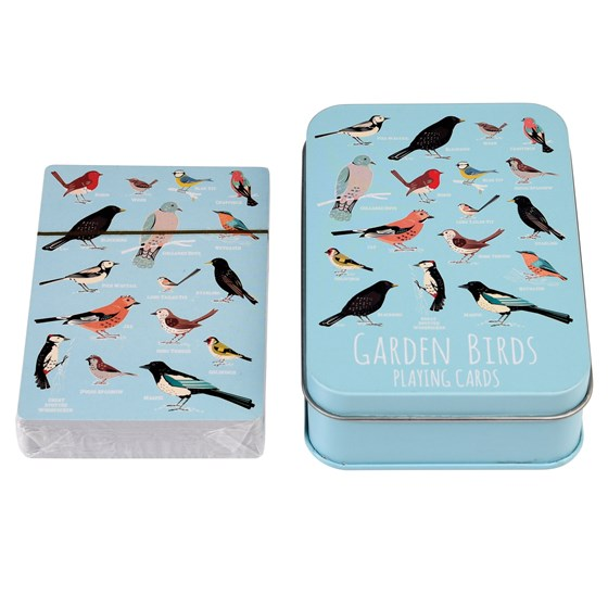 GARDEN BIRDS PLAYING CARDS IN A TIN