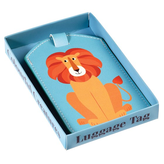 charlie the lion luggage tag