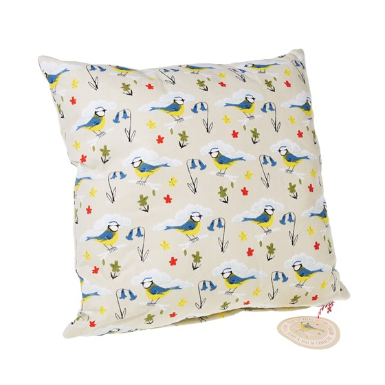 BLUE TIT PRINT CUSHION WITH PAD