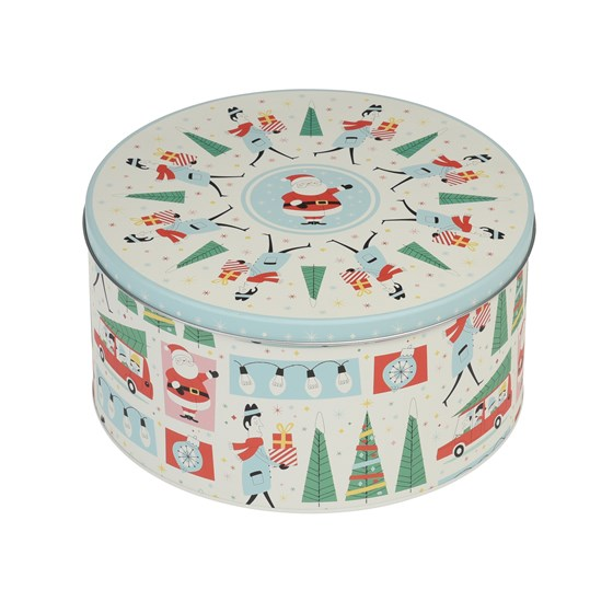round festive family christmas tin