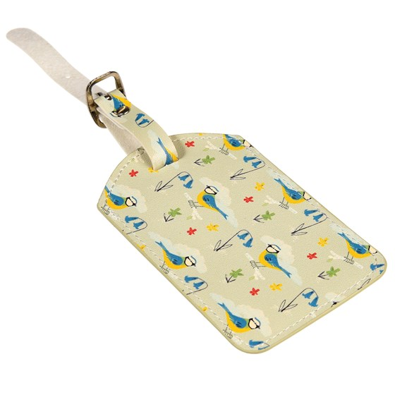 blue tit luggage tag