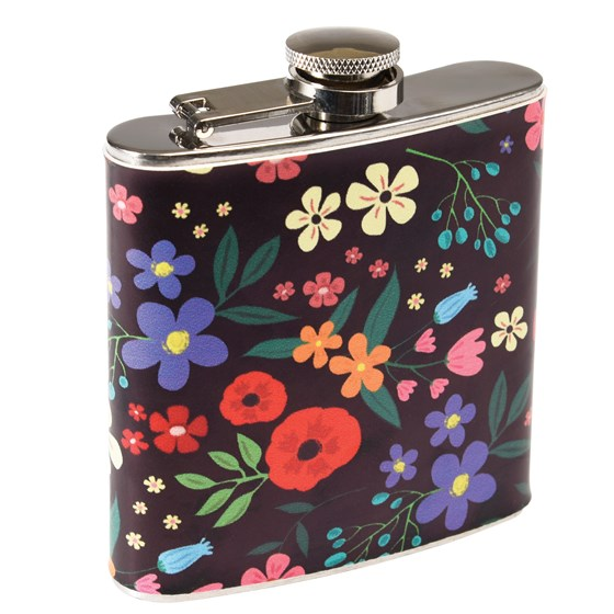 midnight garden stainless hip flask