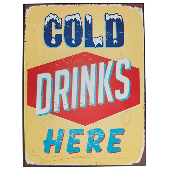 "plaque en métal ""cold drinks here"""