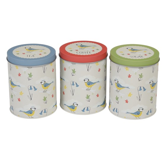 blue tit set of 3 tea coffee sugar tins