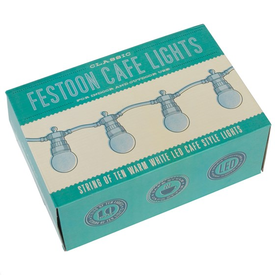 STRING OF 10 WHITE CAFE FESTOON LIGHTS WITH BS 3 PIN PLUG