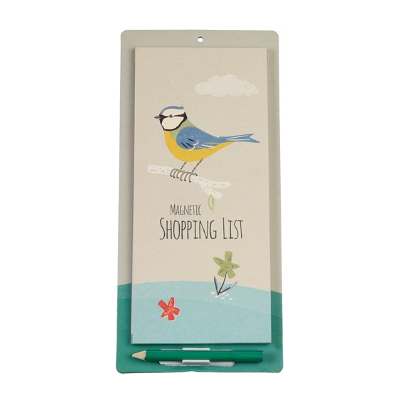 blue tit magnetic shopping list
