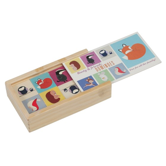 RUSTY AND FRIENDS PICTURE DOMINOES IN WOODEN BOX