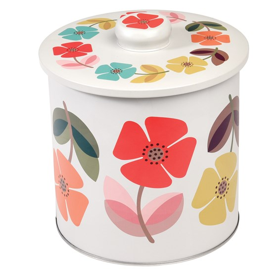 mid century poppy biscuit barrel