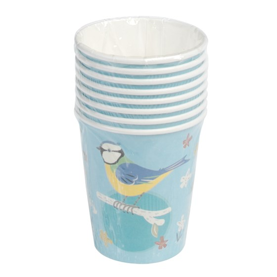 set of 8 blue tit design tea party cups