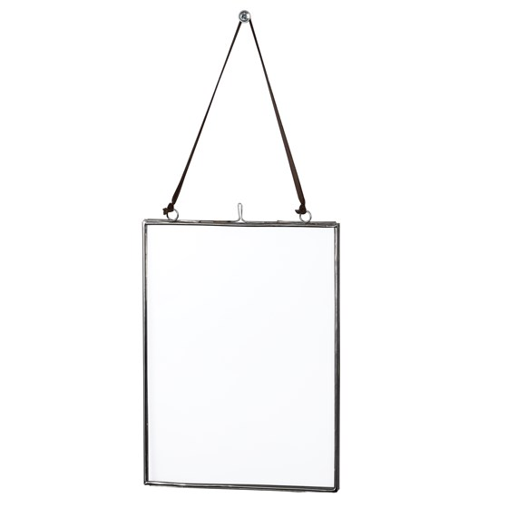glass hanging frame in silver 15x20cm