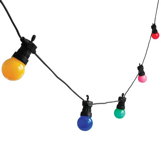 string of 10 multicoloured festoon lights with bs 3 pin plug