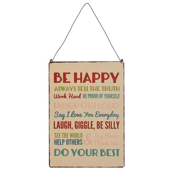 BE HAPPY...METAL SIGN