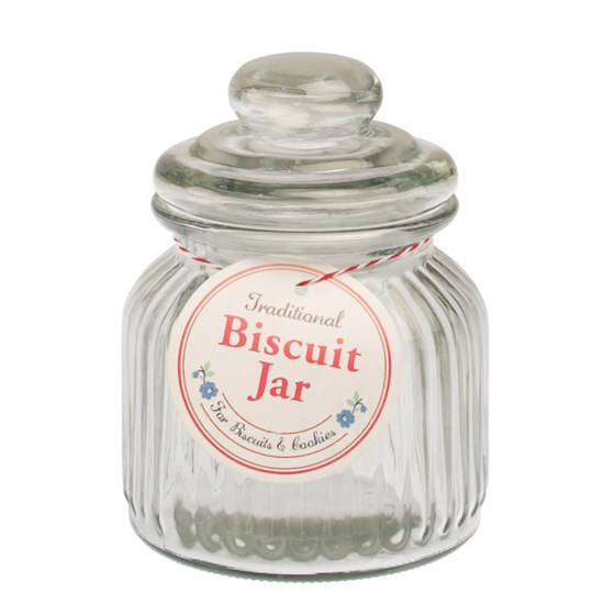 SMALL TRADITIONAL RIDGED GLASS BISCUIT JAR