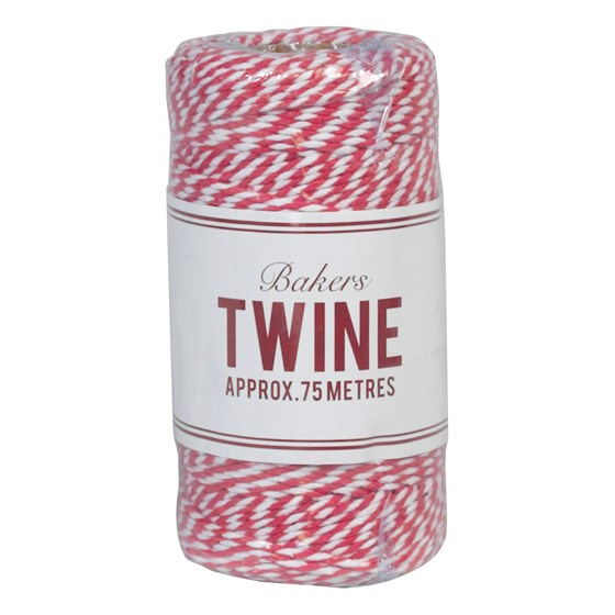 bakers twine cerise and white