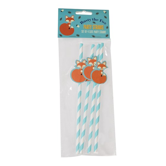 PACK OF 4 RUSTY THE FOX PARTY STRAWS