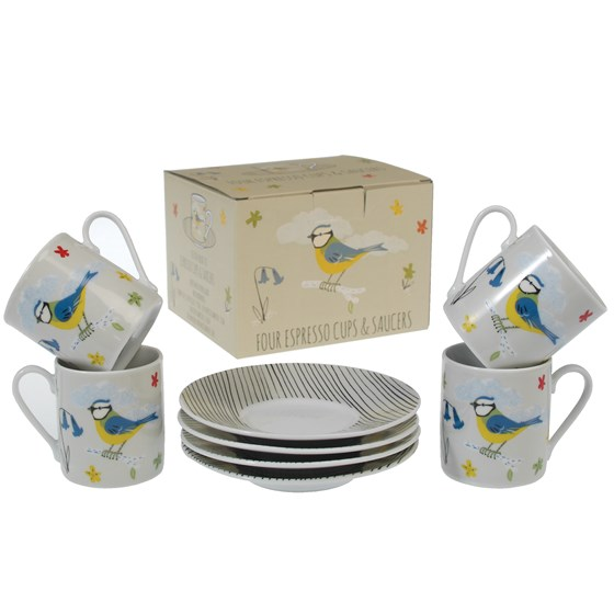 4 BLUE TIT ESPRESSO CUPS WITH SAUCERS