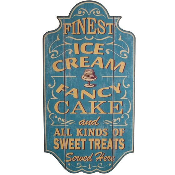 "plaque vintage en bois ""ice cream"""