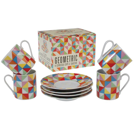 4 geometric espresso cups with saucers