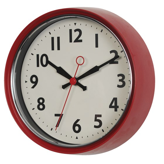RED FIFTIES STYLE METAL WALL CLOCK