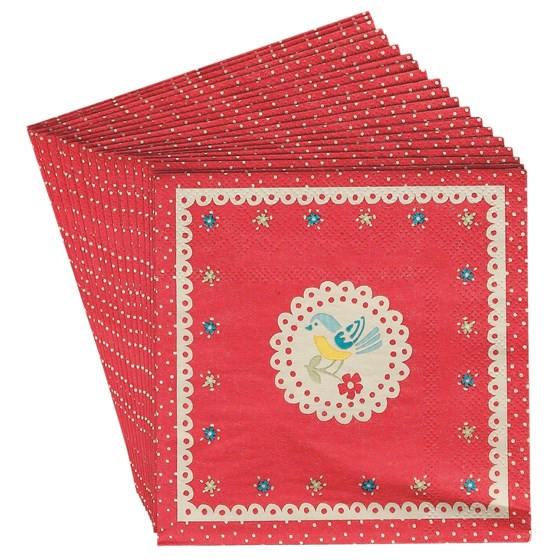 SET/20 RED VINTAGE DOILY NAPKINS