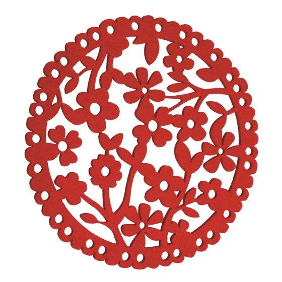 set de table rond floral de feutre rouge