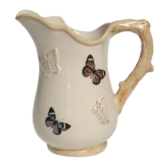 cream botanical butterfly jug