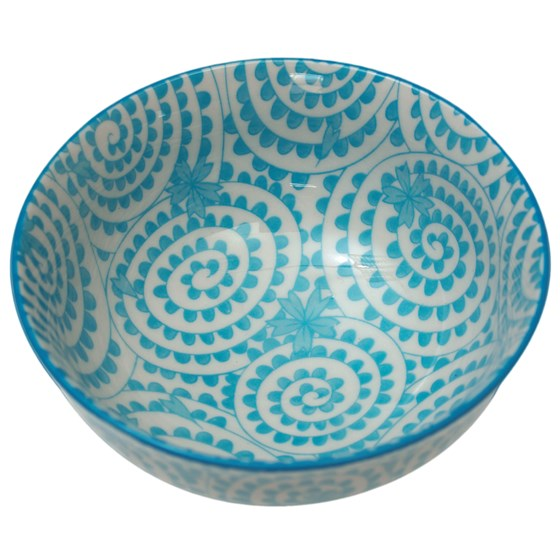 JAPANESE BLOSSOM BOWL BLUE SWIRLS