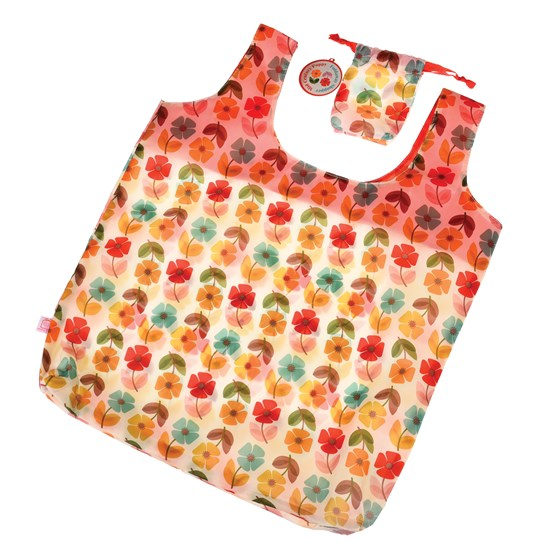 mid century poppy foldaway shopping bag