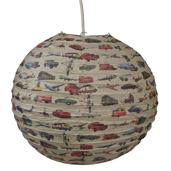 vintage transport paper lampshade