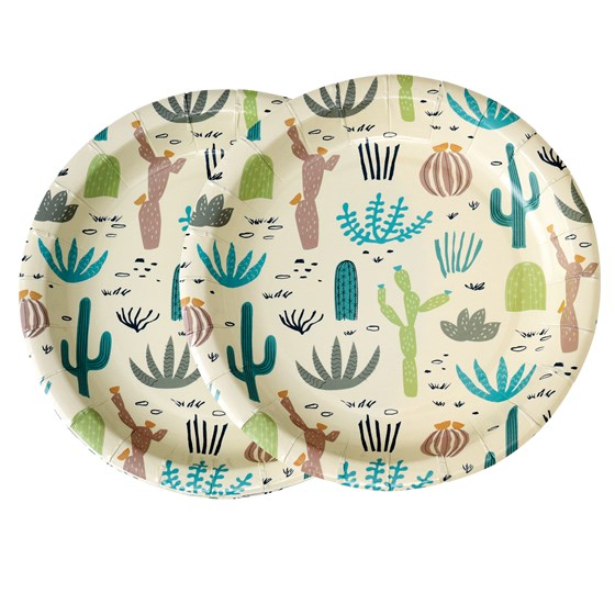 DESERT IN BLOOM PAPER PLATES (PACK OF 8)