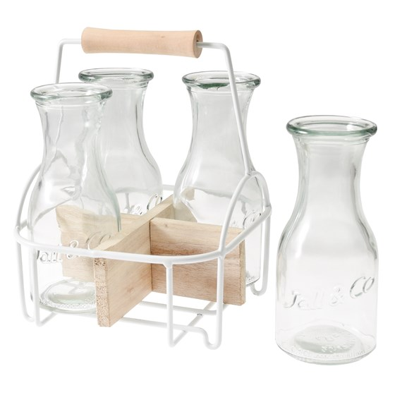 set 4 glass carafes in carrier