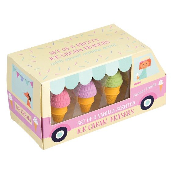 scented ice cream shaped erasers (set of 6)