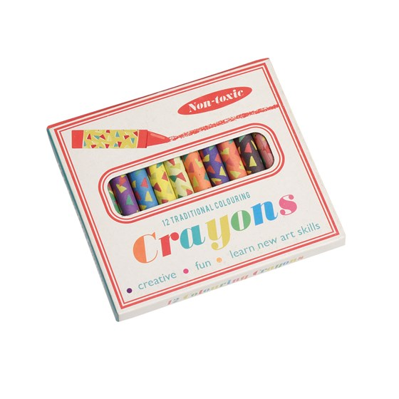 set of 12 colourful crayons
